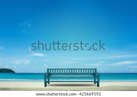 blue color garden wooden chair over blue sea background,abstract background for travel holiday concept. - stock photo