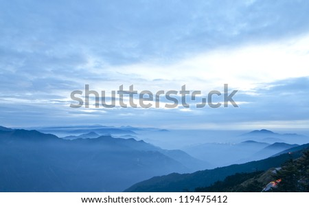 blue color of mountains during sunset in the Taiwan