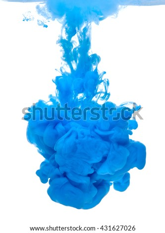 blue color paint pouring in water