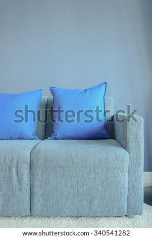 Blue color pillows setting on light blue sofa with blue wall