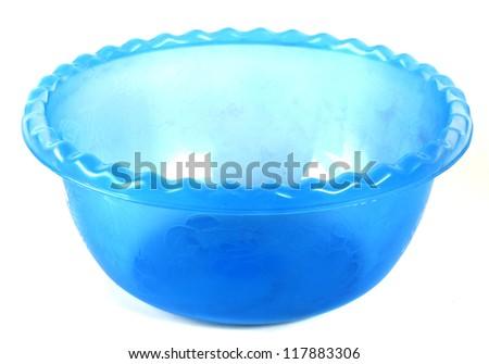 blue color Plastic bowl - stock photo