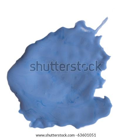 blue color splash isolated on white - stock photo