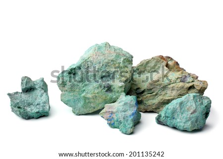 Blue color stone on white background