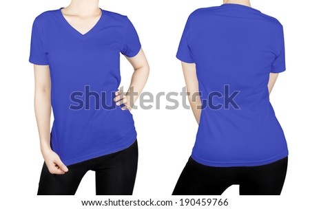 blue color T - shirt on woman body with front and back side isolated on white background. - stock photo