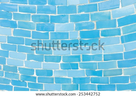 Blue color tone ceramic tiles texture with filling, random size - stock photo