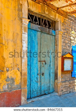 Blue colored door in a building located in Limassol Cyprus