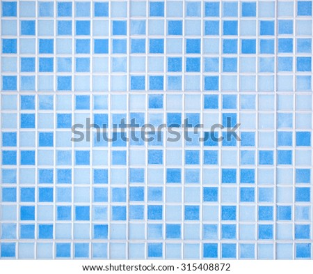 Blue colored mosaic background tiles for bathroom - stock photo