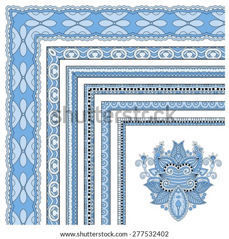 blue colour floral vintage frame design.  All components are easy editable, raster version - stock photo