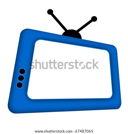 Blue comic retro TV with antenna and blank screen isolated over white background - stock photo
