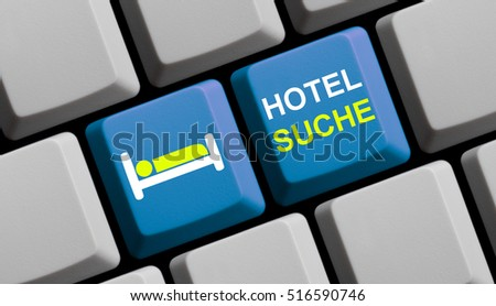 Blue computer keyboard with symbol showing Hotel Search