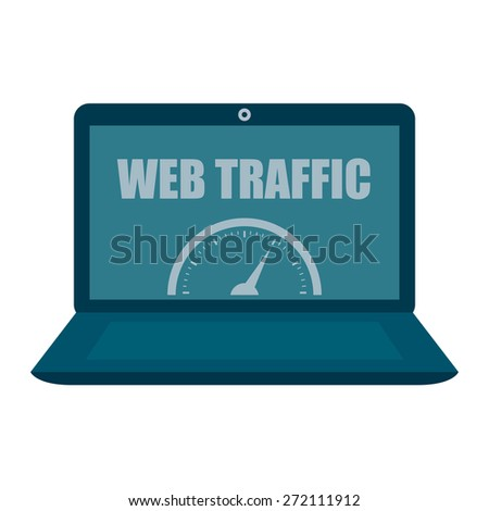 Blue Computer Laptop With Web Traffic Label, Sign or Icon Isolated on White Background - stock photo
