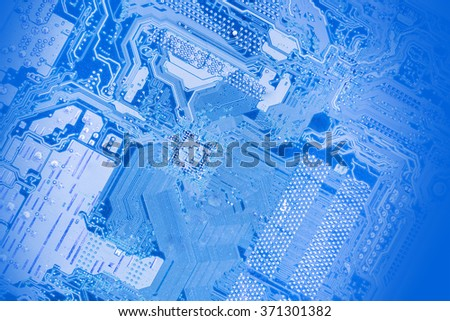 Blue Computer motherboard for background or texture - stock photo