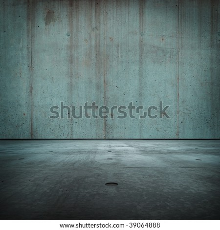 Blue concrete room - stock photo