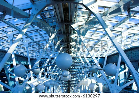 blue construct with spheres  on it - stock photo
