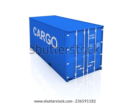 Blue container.Isolated on white background.3d rendered illustration. - stock photo