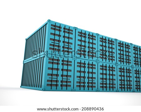 Blue containers concept rendered on white background