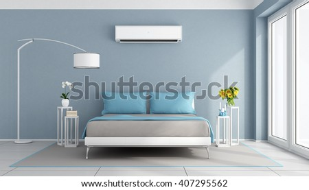 Blue contemporary bedroom with air conditioner - 3d rendering - stock photo
