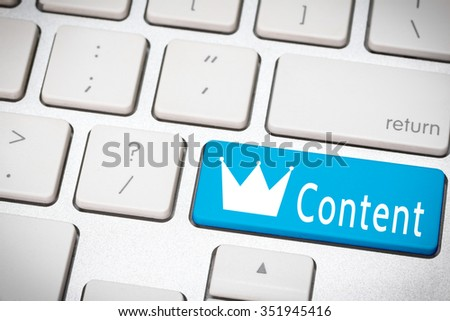 Blue content king button on the keyboard