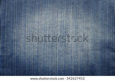 Blue corduroy fabric texture close- up photo background. - stock photo