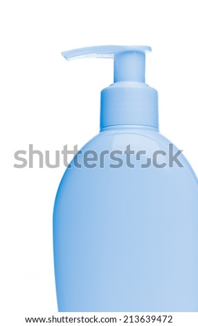 blue cosmetic bottle isolated on white background - stock photo