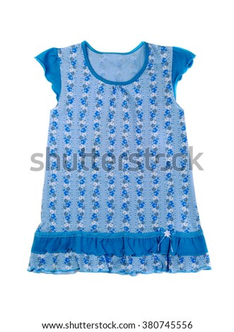 Blue cotton baby dress. Isolate on white. - stock photo