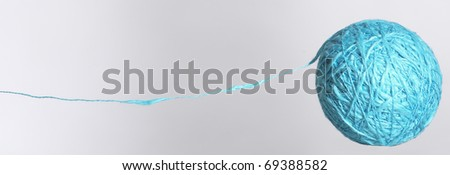 blue cotton ball with own fiber - stock photo