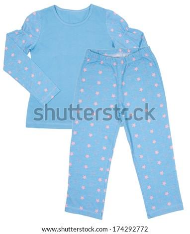 Blue cotton childrens girls pajama set isolated on white background - stock photo