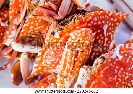 Blue Crab steam seafood in Thailand.Crab steam seafood in Thailand. - stock photo