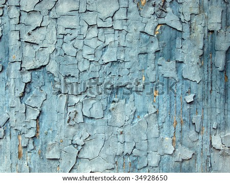 Blue Cracked Paint Background - stock photo
