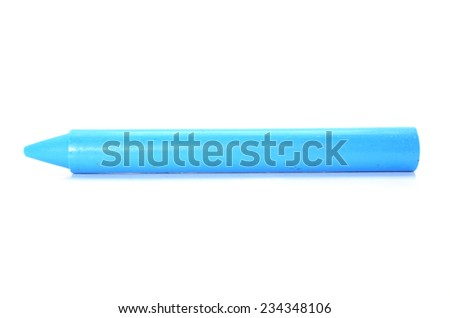 Blue crayon on white background.