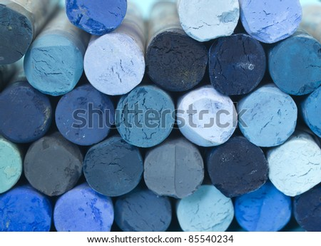 blue crayons background - stock photo