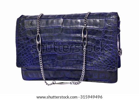 Blue crocodile genuine leather handbag - stock photo