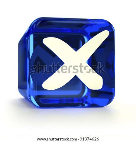 Blue cross mark computer icon. Part of an icon set. - stock photo