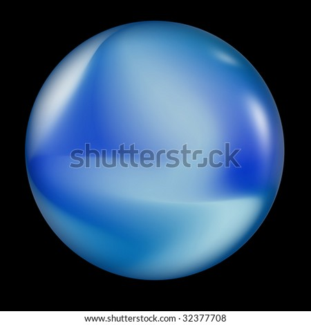 blue crystal ball containing sand