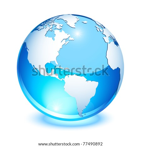 Blue crystal earth showing north and south America - stock photo