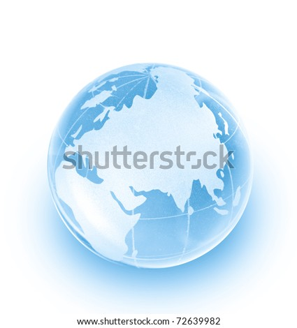 Blue crystal glass globe isolated on white background