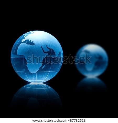 Blue crystal globe - stock photo