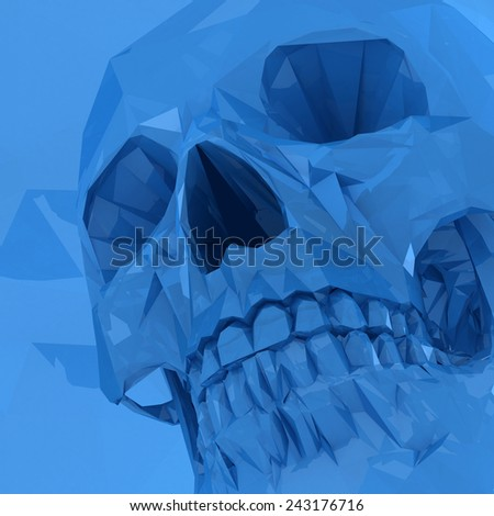 Blue crystal skull made of polygons on blue background.  - stock photo