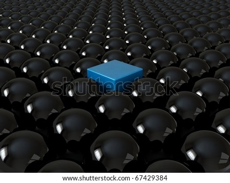 Blue cube among black spheres, standing out in the crowd concept - stock photo