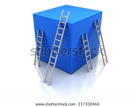 Blue cube with ladders, concept success - stock photo