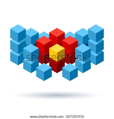 Blue cubes logo composition with red and yellow segments - stock photo