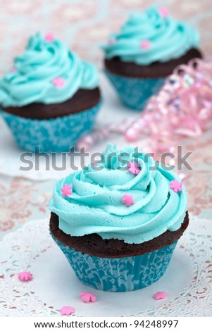 Blue Cupcakes - stock photo