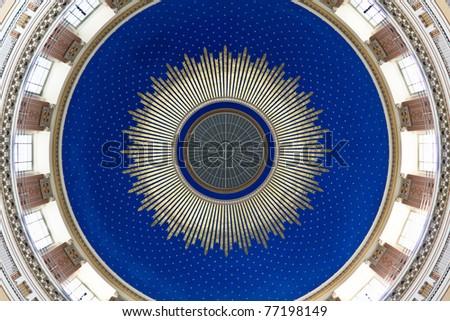 Blue cupola of an art nouveau church with golden parts - stock photo