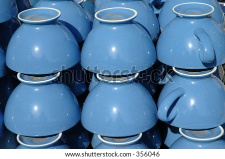Blue cups - stock photo