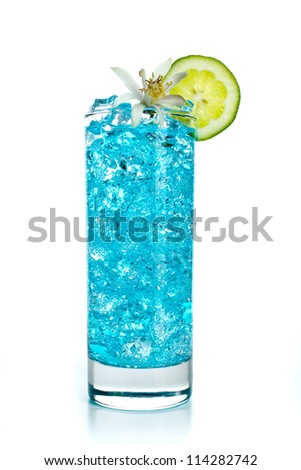 Blue Curacao cocktail - stock photo
