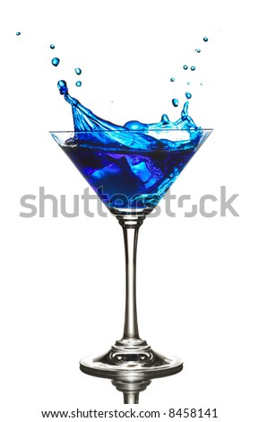 Blue Curacao cocktail splash isolated on white - stock photo