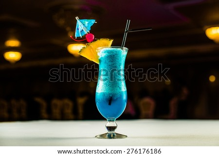 Blue Curacao cocktail with - stock photo