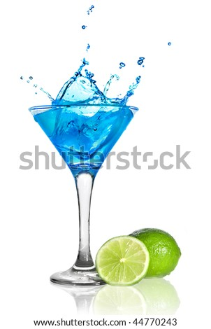Blue curacao cocktail with splash and green lime isolated on white - stock photo