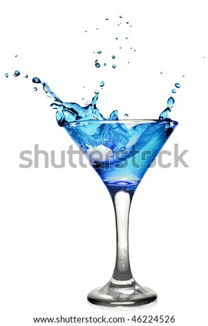 Blue curacao cocktail with splash isolated on white - stock photo