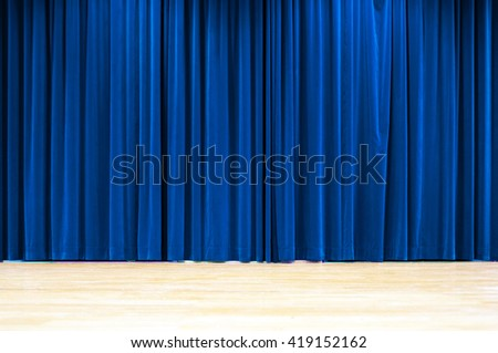Blue Curtain - stock photo